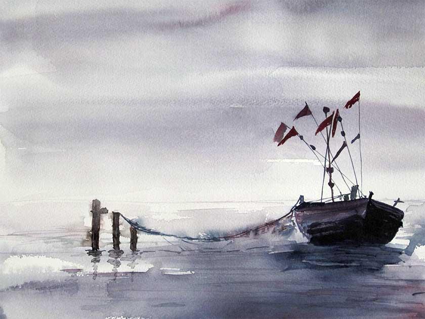 Aquarell Boote