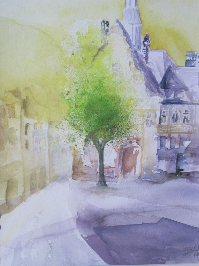 Aquarell An der Thomaskirche