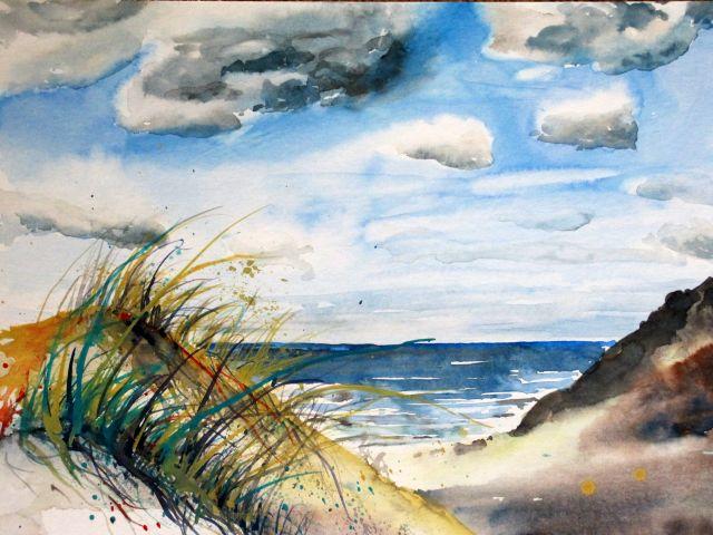 Aquarellbild Küstenimpression